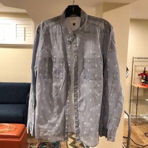 Loft blouse size L w/ embroidered diamond design